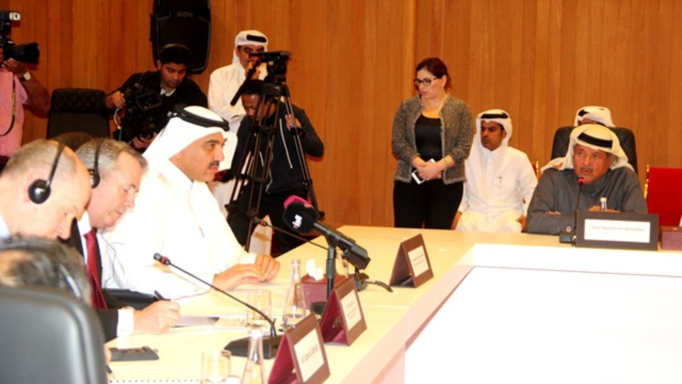 Sheikh Faisal bin Qasim AlThani, Chairman Qatar Businessmen Association addressing