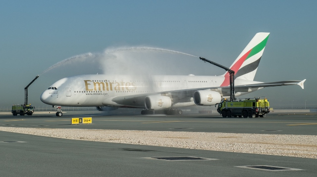 the-emirates-a380-is-greeted-by-a-water-cannon-salute-at-hamad-international-airport-doha