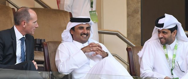 Emir of Qatar flanked by Nasser AlKhater and Alistair