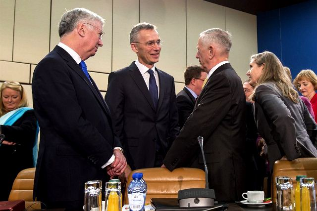 US, British Defence Ministers with NATO Secretary General before start of meeting today. Pic by US Department of Defence