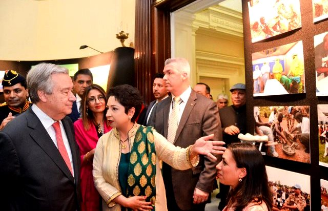 UN Secretary General Tours with ambassador Maleeha Lodhi at Pak Ntl Day 23 Mar 2017 Pic with courtesy Maleeha Lodhi Twitter account