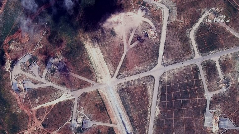 Aerial view of AlShayrat Airfield in Syria target of US 59 cruise missiles Image@2017DigitalGlobe