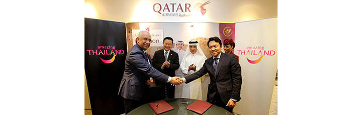Ehab Amin and Tanes Petsuwan seen shaking hands after signing of MOU