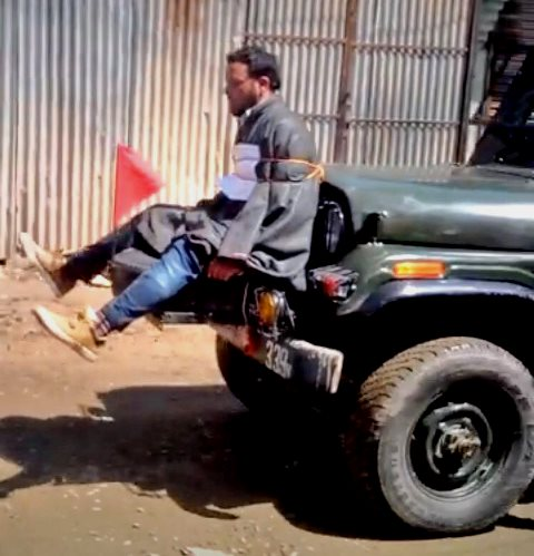 Farooq Dar put as human shield by Indian Forces in Indian Occupied Kashmir