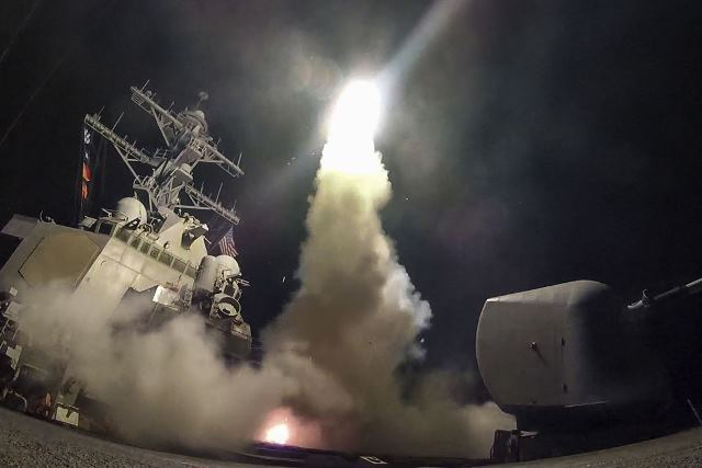 The guided missile destroyer USS Porter conducts strike operations Pic USDOD