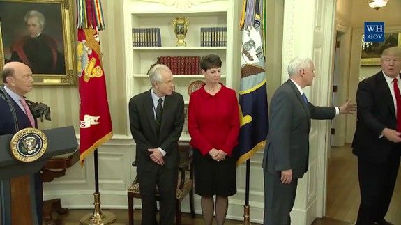 US President Trump ignores pleas of Vice President Pence to come back and sign the Executive Orders 31 Mar 2017