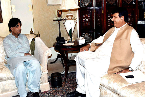 Advisor to PM Provincial President of PML-N Engr, Ameer Muqam called on Interior Minister Ch.Nisar Ali Khan at Punjab House. APP