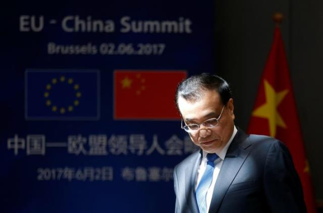 Chinese Premier Li Keqiang arrives to attend the EU-China Summit in Brussels, Belgium June 2, 2017. Pic Reuters