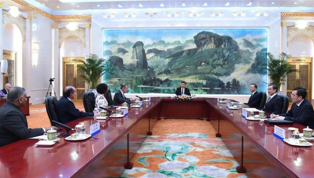 Chinese President Xi Jinping meets heads of delegations from Brazil, India, Russia, and South Africa