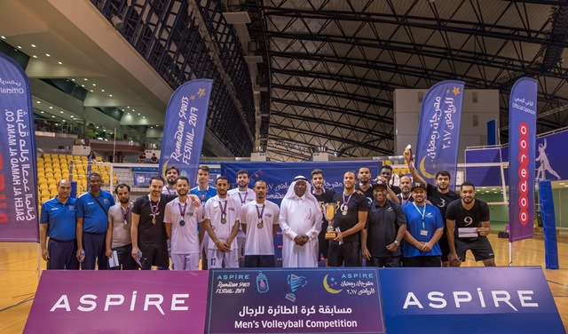 Group photo of the top three teams in the men's volleyball tournament
