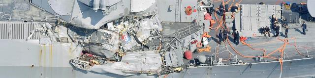 USS Fitzgerald afterr collision with Philippines merchant ship