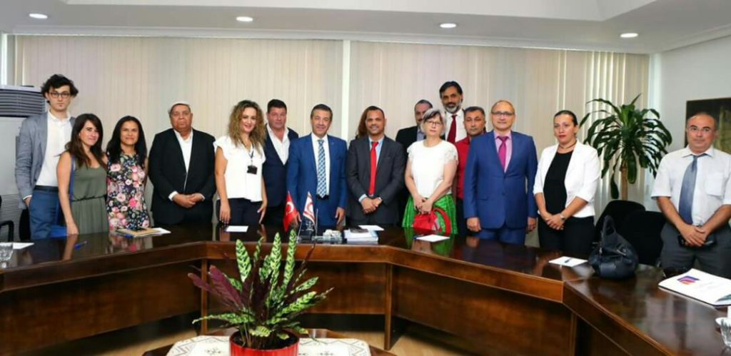 A group of Intl journalists with Tahsin Ertugruloğlu, Foreign Minister of Turkish Republic of Northren Cyprus