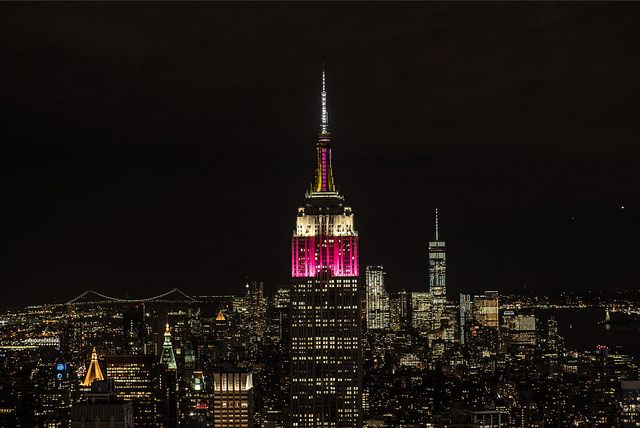 A view of Empire State Building New York with Qatar Airways Colours on 10th Anniversary of US Operations 28 June 2017 Pic by Qatar Airways