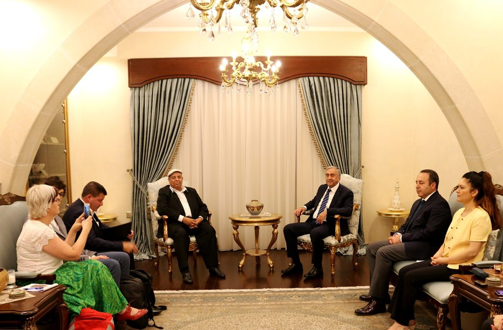 H. E. Mustafa Akinci (Right), President TRNC seen with with visiting journalists (2)