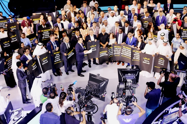 Visiting Intl delegates from media and Human Rights bodies visiting AlJazeera Studios to show their solidarity