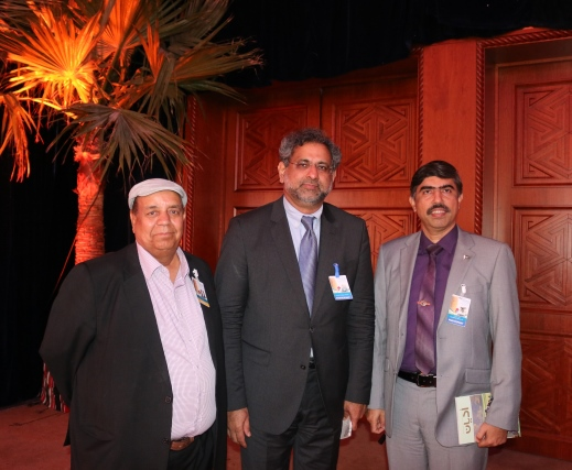 A recent picture of newly elected Prime Minisrter of Pakistan Shahid Khaqan Abbasi (C) with Ashraf Siddiqui (L) and Brig. Irfan Taj, Pakistan Defence Attache on the occasion of a conference in Doha.