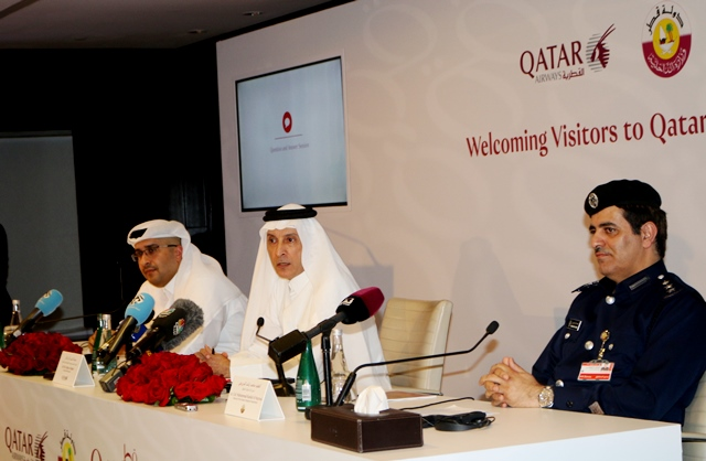 Akbar AlBaker, CEO Qatar Airways addressing press conference while Hassan AlIbrahim of QTA and Col Mohammad of Immigration are present