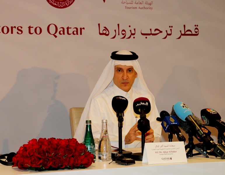 Akbar AlBaker, CEO Qatar Airways speaks at press conf 09 Aug 2017