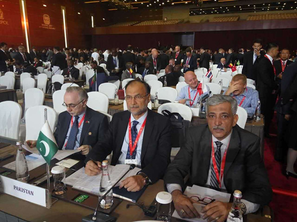 Pakistani Minister for Interior Ahsan Iqbal (C) attends the opening ceremony of 86th General Assembly of INTERPOL held in Beijing, 26 Sept Pic China.org.cn