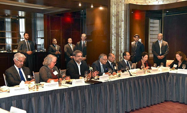 Prime Minister Shahid Khaqan Abbasi addressing the business community at a reception hosted by US-Pakistan Business Council