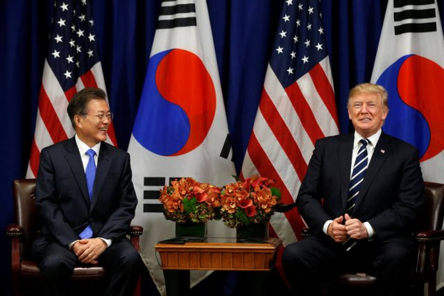 U.S. President Donald Trump meets with South Korean president Moon Jae-in during the U.N. General Assembly in New York, U.S., September 21, 2017. REUTERS