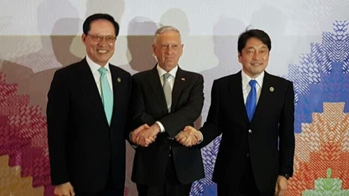 US, Japanese & Korean Defense Ministers Meet in Clark, Philippines, Condemned North Korean's Provocations