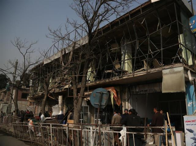 Photo taken on Jan. 28, 2018 shows a scene of damaged restaurant at the site of the deadly attack in Kabul, Afghanistan