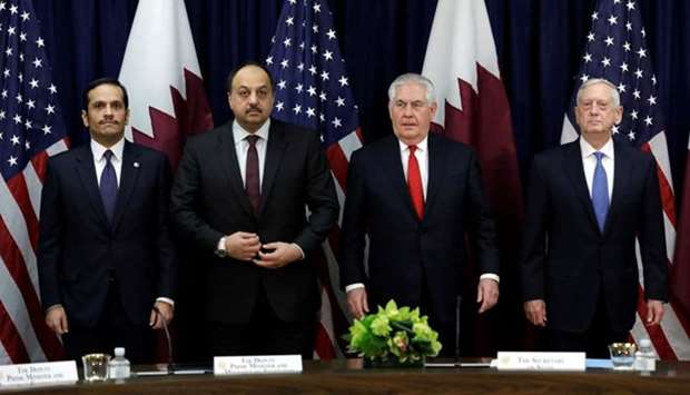 Rex Tillerson, Jim Mattis, Sheikh Mohamed bin Abdulrahman al-Thani and Dr Khalid bin Mohamed AlAttiyah at opening US-Qatar meeting today in Washington DC