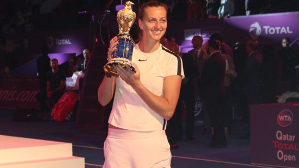 Kvitova Picks Falcon Trophy in Qatar Total Open.