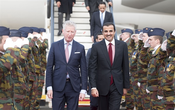 HH The Emir arrives in Brussels