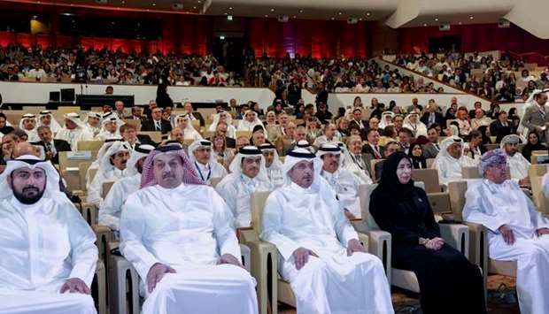 Sheikh Abdullah bin Nasser bin Khlifa AlThani with ministers at launch of Ntl Health Strategy