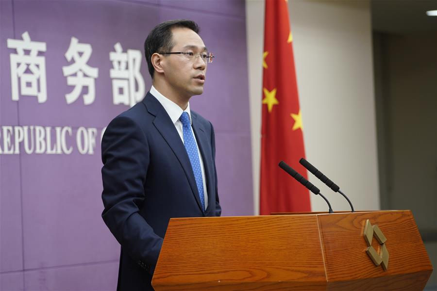 Gao Feng, spokesperson with China's Ministry of Commerce, speaks at a press conference in Beijing, Picture 06 April 2018, Pic Xinhua News