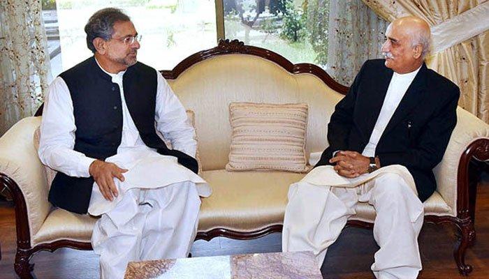 Pakistani Prime Minister Abbasi meets Opposition Leader n Parliament Shursheed Shah