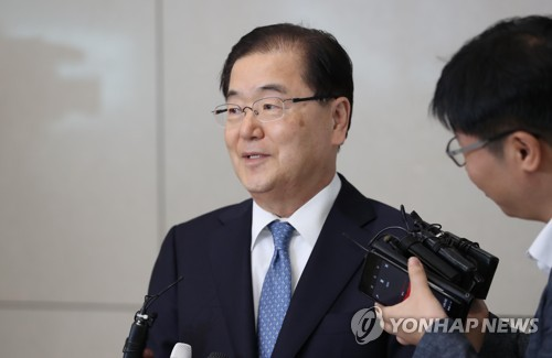 Pic 5th May Yonhap News Chung Eui-yong, South Korea's top security adviser after meeting with U.S. national security adviser John Bolton