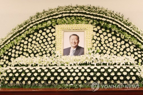 The photo of late LG chairman, Koo Bon-moo, at a funeral hall at Seoul National University Hospital on May 20, 2018. The tycoon died on the same day at the age of 73 Pic Yonhap News