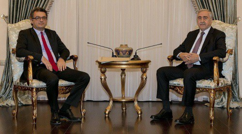 Pime Minister Erhürman seen with President Mustafa Akıncı File Picture