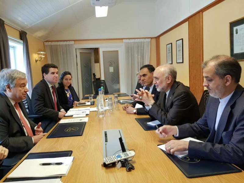 Salehi meets UN Chief on the sidelines of Oslo Forum at Norway Pic IRNA