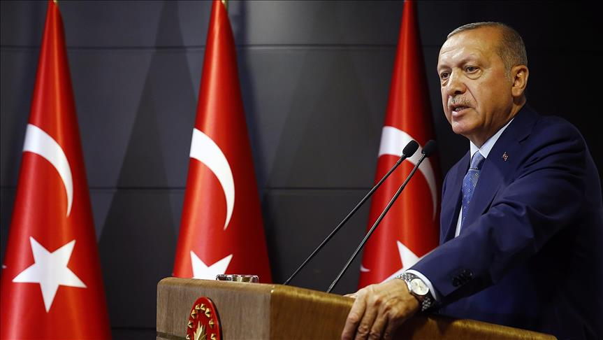 Turkish President and the leader of the Justice and Development Party Recep Tayyip Erdogan addresses press conference post elections Pic Anadolu