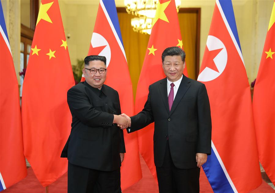 Xi Jinping and Kim Jong-un hold talks in Beijing today Picture Xinhua News