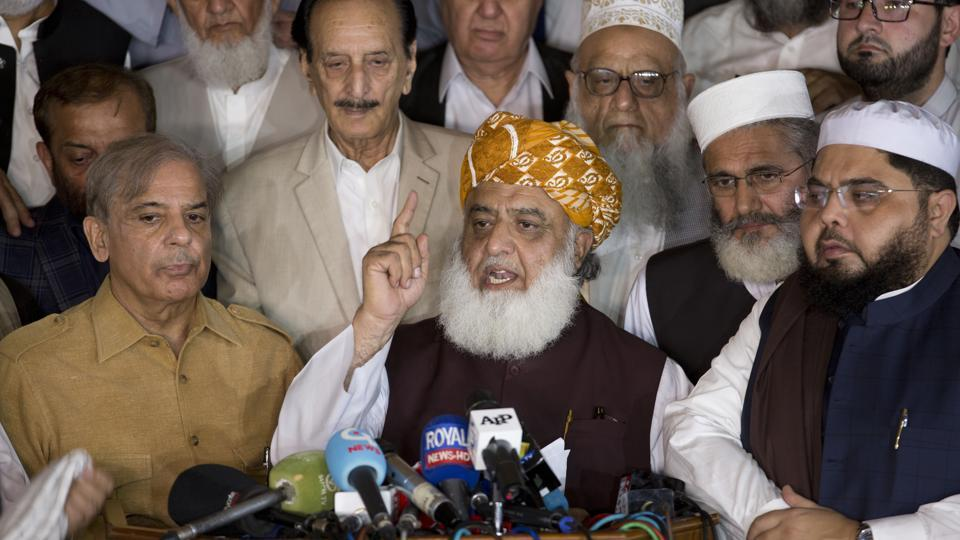 All Parties Conference APC in Islamabad, Pakistan demands fresh elections Friday, July 27, 2018. (AP)