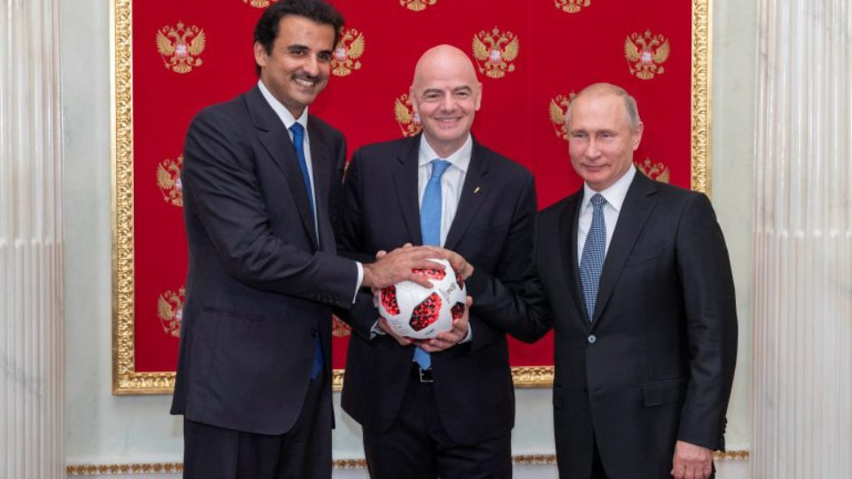 Emir of Qatar Receives From Russian President Putin Hosting Mantle of 2022 FIFA World Cup