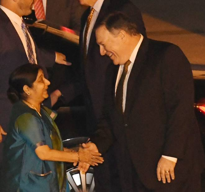 Michael R. Pompeo being received by INdian External Affairs Minister Sushma Swaraj in new Delhi Pic Daily The Hindu