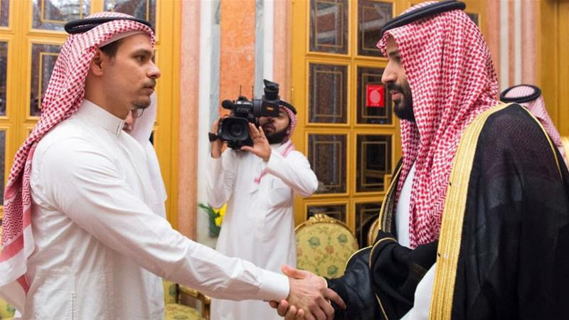 Salah Khashoggi shakes hands with Crown Prince Mohammed bin Salman after being invited to receive condolences Courtesy Saudi Press Agency