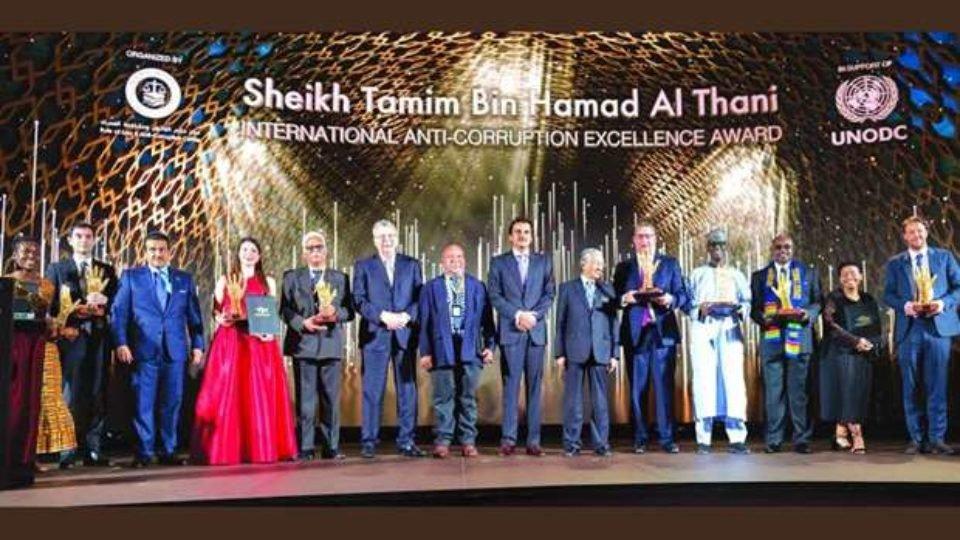 Amir of Qatar, Malaysia Premier, UNPDC Director Honor Winners of Tamim bin Hamad Al Thani Anti-Corruption Excellence Award