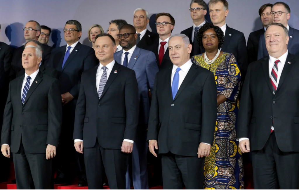 US Vice President seen with Polish President, Israeli Prime Minister and US Secretary of State Mike Pence Pic by AP 13 Feb 2019