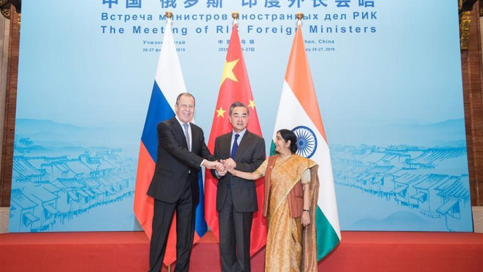 Wang Yi , Sergei Lavrov and Sushma Swaraj hold the 16th meeting of the foreign ministers of China, Russia and India in Wuzhen of east China's Zhejiang Province, Pic Xinhua 27 Feb 2019