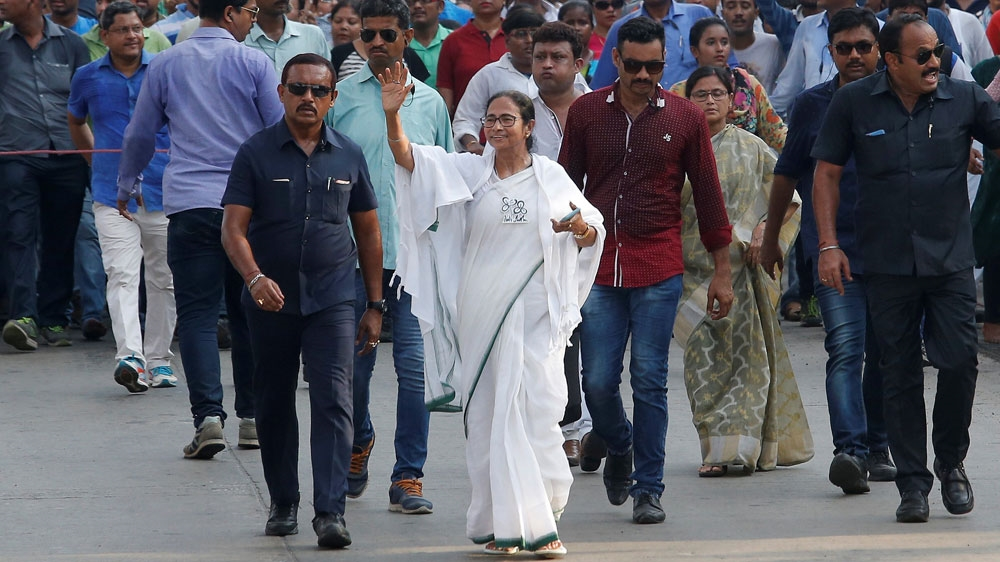 Mamata Banerjee, chief minister of West Bengal and chief of the TMC, at a roadshow ahead of the last phase of general election in Kolkata Pic Reuters