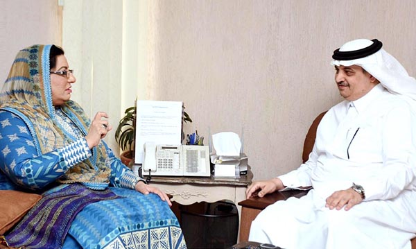 Special Assistant to Prime Minister Dr. Firdous Ashiq Awan in a meeting with Saudi Ambassador Nawaf Saeed Ahmad Al-Maliki. APP