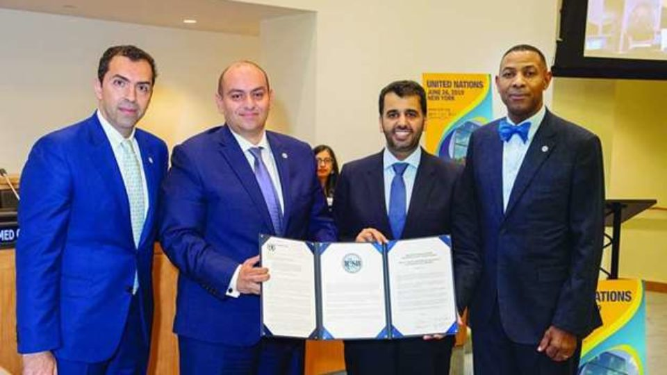 QDB CEO Abdulaziz bin Nasser al-Khalifa with other dignitaries on the sidelines of the 'UN MSME Day' celebrations in New York.