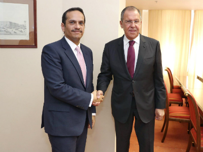 Qatar's Foreign Minister Meets A Number of Heads of Delegates at 2019 Int'l Economic Forum